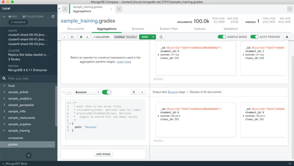 MongoDB Compass aggregation pipeline