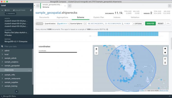 MongoDB Compass: visualizzazione dati geografici